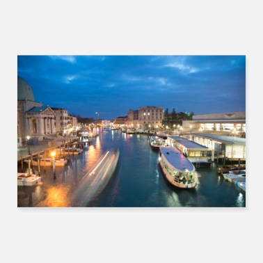 Venice Grand canal of Venice Italy at night - Poster