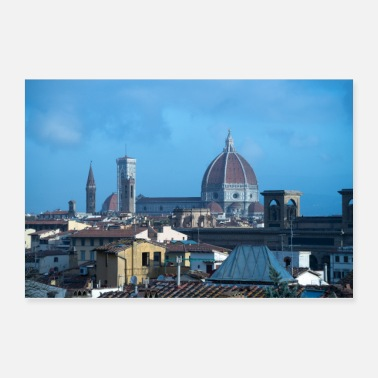 Italy Rooftops of Florence Italy - Poster