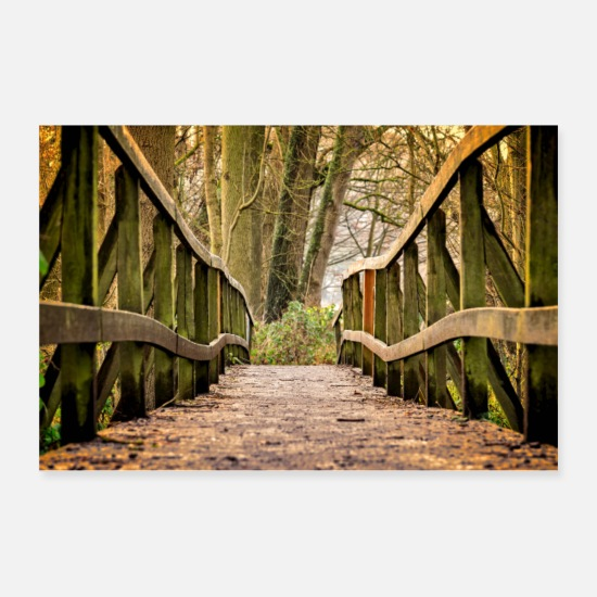 Nature Posters - Bridge in the Forest - Posters white