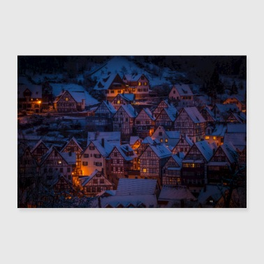 German Winter Village - Poster 36x24