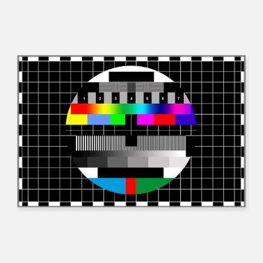Vintage RGB & BW TV Test Card/Screen Pattern - Poster 36x24