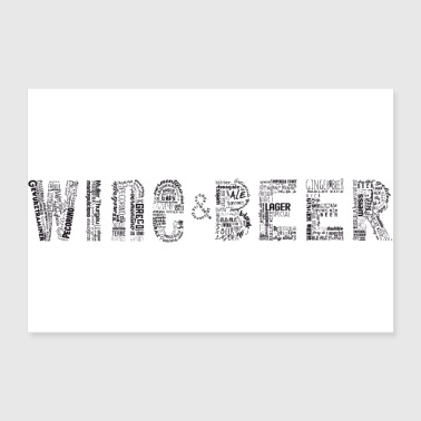 Wine Wine&Beee Tag Cloud - Poster 36x24