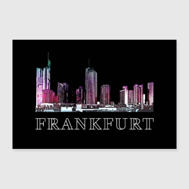 Frankfurt Skyline Architecture Illustration Poster - Poster 36x24