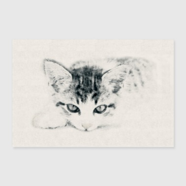 Cat Cute Kitty Illustration Carcoal Pencil Drawing - Poster 36x24
