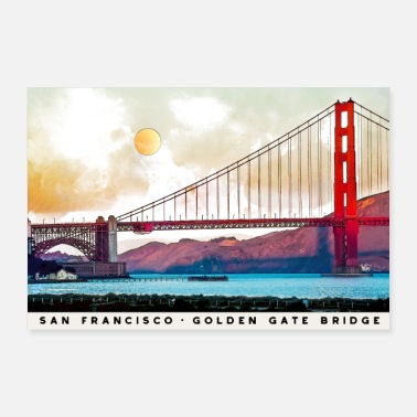 Gate San Francisco Golden Gate Bridge Architecture USA - Poster 36x24