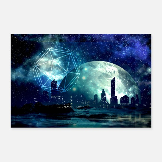 Travel Posters - Icosahedron, Sacred Geometry. Fantasy City - Posters white
