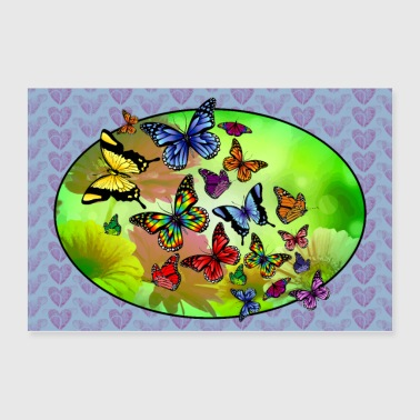 Butterfly Flower Love - Poster 36x24