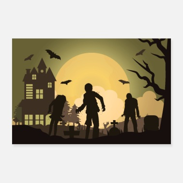Attractive Zombies in the cemetery - Poster 36x24