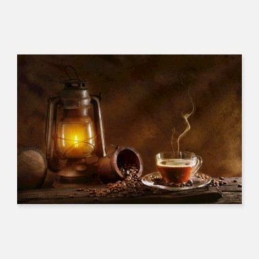 Beverage Coffee and oil lamp - Poster
