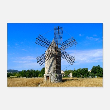 Wheat Windmill on field on Mallorca - Poster