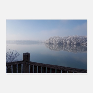 Lake Winter Iced Forest Lake Scenery II Gift - Poster