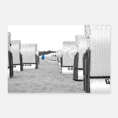 Sand Beach chairs in a row, black and white colored - Poster 36x24