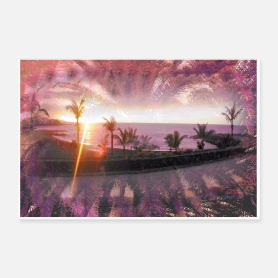 Sun Posters - Beachtime at night - Posters white