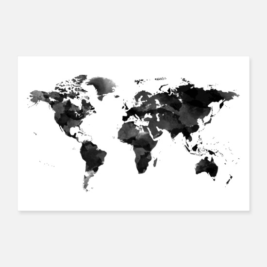 White Posters - World Map - Water color - Black and White - Posters white