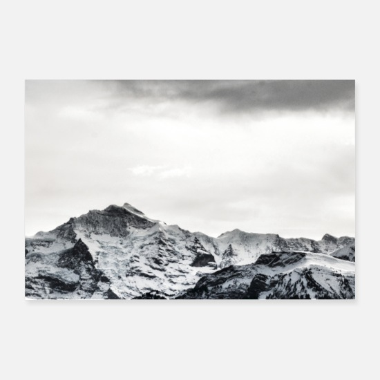 Black Posters - Mountains - Black and White - Posters white