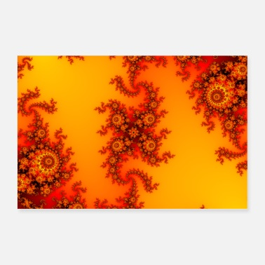 Fire Colorful Fire Fractal with intricate swirls - Poster 36x24