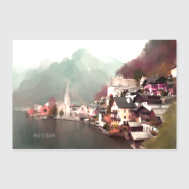 Hallstatt , Austria. Watercolour wall art - Poster 36x24