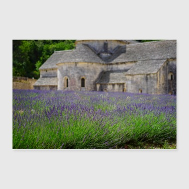 Flowers in front of a old Church - Poster 36x24