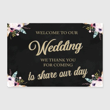 WELCOME TO OUR WEDDING BOHO BLACK - Poster 36x24