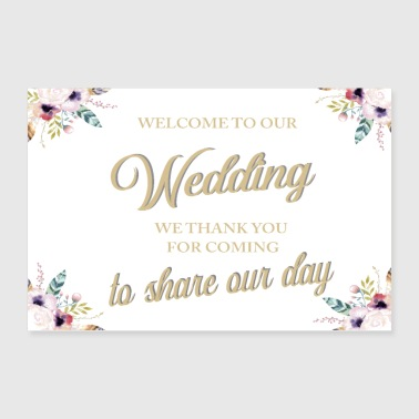 WELCOME TO OUR WEDDING BOHO WHITE - Poster 36x24