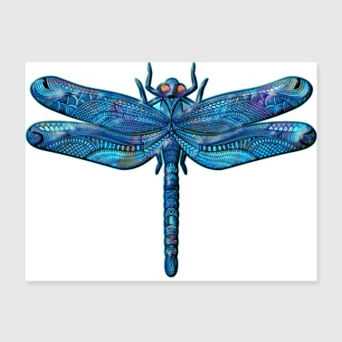 Dragonfly Tattoo Iridescent Abstract Blue - Poster 24x18