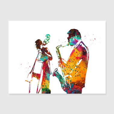 Jazz with saxophone and double bass - Poster 24x18