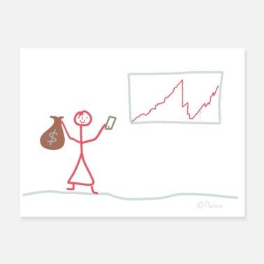 Corporate Trading stick figure, stock exchange girl woman - Poster