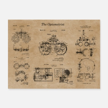Optometry Patent Blueprints - Poster 24x18