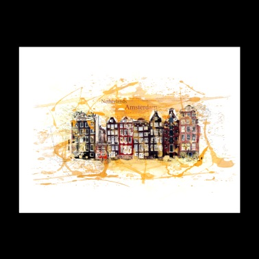 Amsterdam City Watercolor Illustration Art - Poster 24x18
