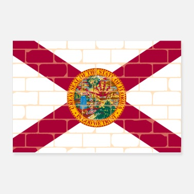 Wall Street Florida Flag Wall Graffiti - Poster