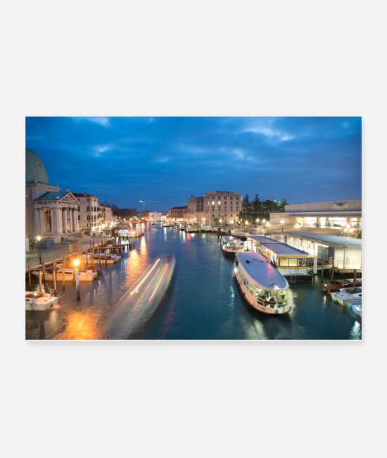 Turin Posters - Grand canal of Venice Italy at night - Posters white