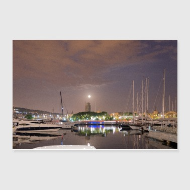 Barcelona harbour at night - Poster 12x8