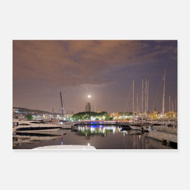 Sailboat Barcelona harbour at night - Poster