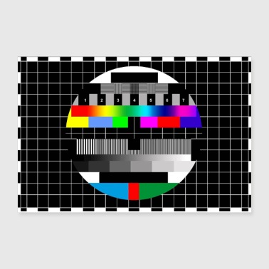 RGB & BW TV Test Card/Screen Pattern - Poster 12x8