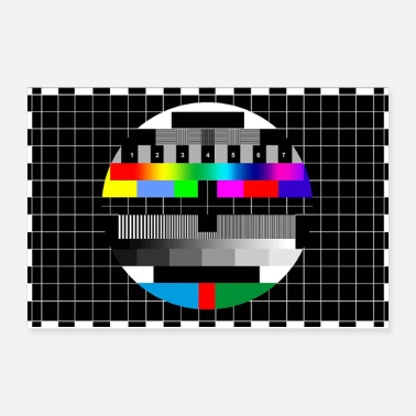 Vintage RGB & BW TV Test Card/Screen Pattern - Poster 12x8