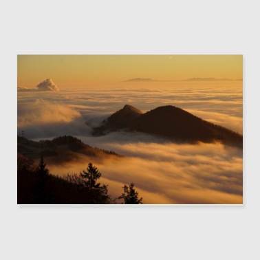 Homberg Germany Landscape Fog Sunset - Poster 12x8