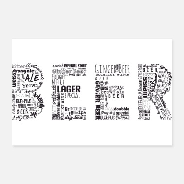 Typography Beer Tag Cloud - Poster 12x8
