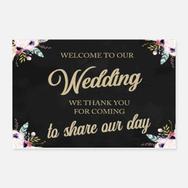 Engagement WELCOME TO OUR WEDDING BOHO BLACK - Poster 12x8