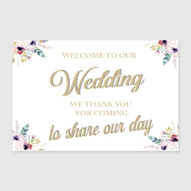 WELCOME TO OUR WEDDING BOHO WHITE - Poster 12x8