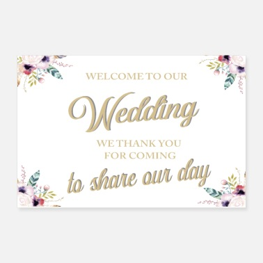 Marriage WELCOME TO OUR WEDDING BOHO WHITE - Poster 12x8