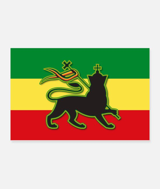 Rasta Posters - Rasta Flag w/ The Lion of Judah - Rasta - Reggae - Posters white