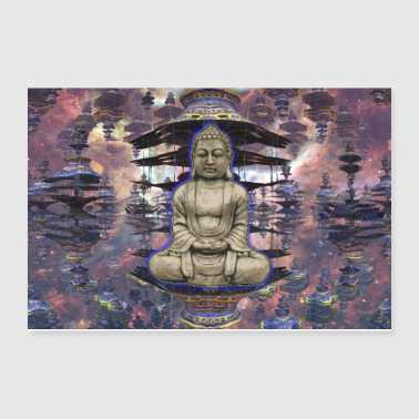 Buddha in Zen with Pagoda Temple Abstract - Poster 12x8