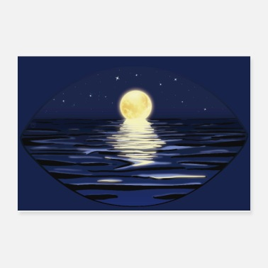Starry Sky Summer Full Moon Night at the sea | Poster - Poster