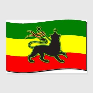 waving rasta flag w the lion of judah rasta poster 12x8