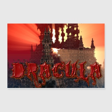 Dracula's castle at Dusk with Setting Sun Beam - Poster 12x8