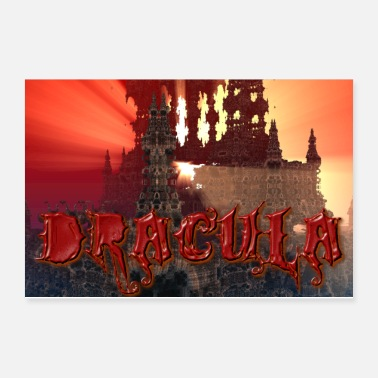 Dracula Dracula's castle at Dusk with Setting Sun Beam - Poster