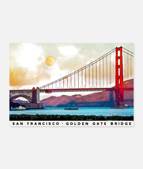 Red Posters - San Francisco Golden Gate Bridge Architecture USA - Posters white