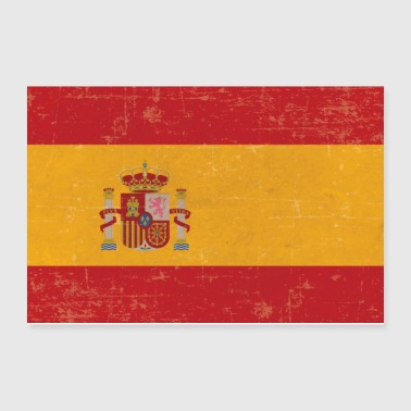 Old scuffed Spain flag gift idea - Poster 12x8
