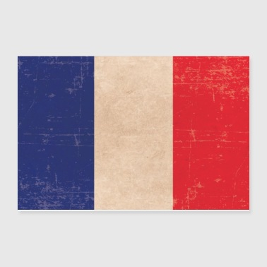 Old scuffled France flag gift idea - Poster 12x8