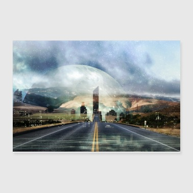 Future Space Road, Galaxy Fata Morgana Ci Science Fiction - Poster 12x8